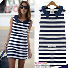 New Sexy Women Summer Casual Striped Sleeveless Dress Beach Fashion Dresses