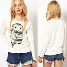 New Womens Autumn White T-Shirts Owl Printed Long Sleeve Crew Neck Tops Blouse