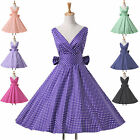 SEXY Vintage 1950s 60s Polka Dot Retro Bow Rockabilly Evening Party Club Dress 1