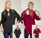 Sexy Lace KEY HOLE Peep Back BLACK/BURGUNDY TOP Plus Size XL/1X/2X/3X  FREE SHIP