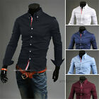 Stylish Design Mens Casual Dress Shirts Slim Fit Long Sleeve Tops 5 Size 5 Color