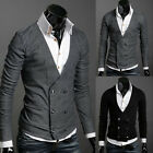 Faddish Men's Cosy Slim Fit V-neck Layered Double Breasted Cardigan Sweater Tops