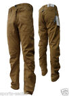 "Enzo Designer Mens Chinos Dark Beige Regular Open Leg Size 34"" 38"""