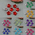 100 Pcs Crystal Straight Hole Acrylic Flower Button Sewing Craft Many Colours