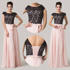 Stock Fairy Lace+Chiffon Long Wedding Prom Dress Party Bridesmaid Evening Gowns