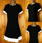 NEW EXCHAINSTORE LADIES VINTAGE STYLE BLACK WHITE SHIFT DRESS UK SIZE 16-26