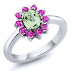 1.50 Ct Oval Green Amethyst Pink Sapphire 925 Sterling Silver Ring