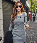 New Hot Sexy Women Cotton Slim Knitwear Black Gray Night Club Sweater Dress 1pc