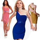 Women's One Shoulder Rhinestone Cocktail Clubbing Party Mini Short Bodycon Dress
