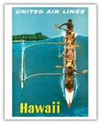 Hawaii Outrigger Canoe Surf Aloha Vintage Airline Travel Art Poster Print Gicl�e