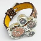 New Dual Time Zone Sport Military Steel Dial Leather Band Men Quartz Wrist Watch