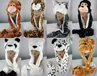 Childs Girls Teens Warm Fleece Lined Animal Hood Hat Scarf & Gloves Paws Mittens