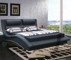 Stunning Black Italian Designer Faux Leather Bed With Add Mattress Option - FLO