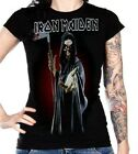 IRON MAIDEN Eddie Reaper metal rock Girls fitted tee T-Shirt L NWT Last