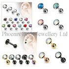 Flat Gem Cartilage Upper Ear Stud Earring / Helix Bar - 3mm 4mm or 5mm