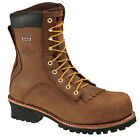 Mens Work Boots Thorogood Waterproof Logger Safety Toe (E,W) Brown 804-3556