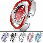 1pc Silvery Case Oval Dial Crystal Quartz Analog Womens Watch Cuff Bangle Jewel