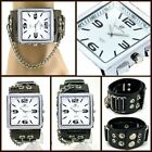 UK0617 Punk Steel Square Fashion Watch Rock Men/Lady Ring+Chain Leather Band