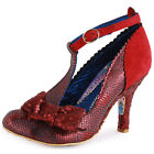 Irregular Choice Bloxy Womens Suede Dark Red Heels New Shoes All Sizes