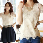 Top Fashion Women Sexy Floral Lace Top Short Sleeve Chiffon T Shirt Blouse S-2XL
