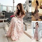 1× Vintage Bohemia Floral Long Sleeve Chiffon Party Clubwear Ball Gown Dress