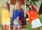 Embroidery Sheer Sleeve Lace Crochet Tee Chiffon Shirt Blouse T-shirt 10 Color
