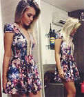 Sexy Women ShortSleeve Vintage Floral Bead Dress Evening Cocktail Party Clubwear