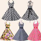 PROMOTION❤❤Women's 1950s Halter Swing Vintage Pinup Retro Party Dress