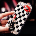 Bling Crystal Diamonds Lipstick Lip Clear Hard Case Cover for Samsung Phone KCZ