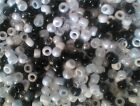 100 or 500 Mixed B/W  Pony Beads,IDEAL FOR DUMMY CLIPS,HAIR BRADING (PB9M-BKWT)