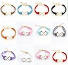 FD791 Infinity Leather Cord Golden Leather Infinity Charm Lucky Bracelet ~1pc~
