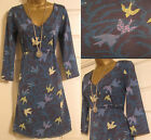 NEW EX WHITE STUFF EMERALD BAY DARK BLUE GREEN BIRD PRINT TUNIC DRESS TOP 8 - 18