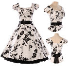 CHEAP Vintage Painting Swing 50's Housewife Pinup Rockabilly Evening Party Dress