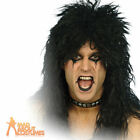Hard Rocker Wig Black Alice Cooper 80s Heavy Metal Simmons Fancy Dress New
