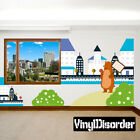 Bear With House and Hill Wall Decal  - Nursery Room Decor - AnimalWallKitID006EY
