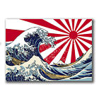 2 x Japanese Wave Sunrise Sticker Tsunami Wave Surf Car iPad Laptop Decal #4077