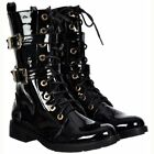 Womens Lace Up Double Buckle Military Combat Biker Ankle Boots White Black Size