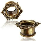 PAIR ANTIQUED LOTUS FLOWER BRASS TUNNELS PLUGS TRIBAL GAUGES PLUGS PLUG GAUGE