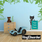 Cat Holding Sign Decal Kit - Room Decor - Wall Fabric - AnimalWallKitID0016EY