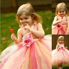 Flowers Girl Ball Gown Tulle Silk Princess Dress Pageant Formal Wedding Party