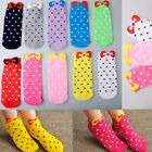 5 Pairs Fashion Womens Girl Korean Cute Bow Candy Colored Charactor Socks