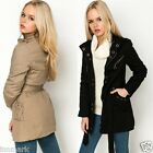 811 Stunning Warm Quilted Lining Long Sleeve Coat Denim Jacket Size UK 10 -16