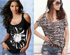 WOMEN SEXY CUT-OUT SHOULDER SHORT SLEEVE TEES HOT ANIMAL PRINT TOPS $39.5 -XS,S-