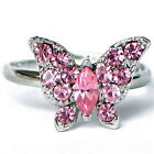 MAYCO PINK BLUE CRYSTAL SILVER SMALL BUTTERFLY STATEMENT ADJUSTABLE RING NEW