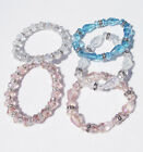 CHRISTINA CLEAR PINK BLUE CRYSTAL RONDELLES BEADED SILVER STRETCH BRACELET NEW