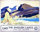 Vintage LMS Scafell Wastwater Lake District Railway Poster A3 / A2  Reprint