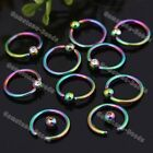 10pc 16G Stainless Steel Czech Crystal Ball Hoop Nose Lip Captive Ring Stud Punk