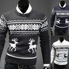 Men's Slim Warm Fit Nordic Cardigan Pullover Knit Top Coat Outerwear Sweater