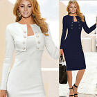 Occident Womens Slim Fit Elegant OL Long Sleeve Tunic Pencil Dress Plus Size~2XL