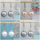 Silver Grey, Pale Pink or White Pearl Swarovski Crystal Drop Earrings